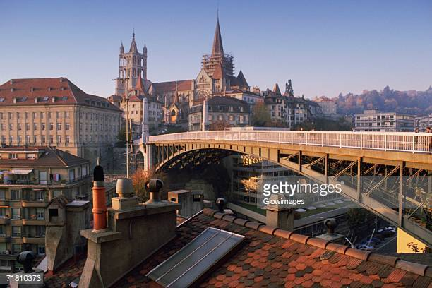 arch bridge in a city, lausanne, vaud, switzerland - lausanne stock pictures, royalty-free photos & images