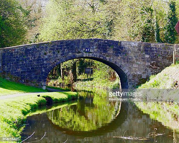 Arch Bridge Over Canal In Park