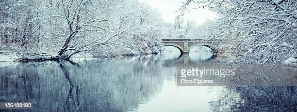 Arch bridge over frozen river in East Rock