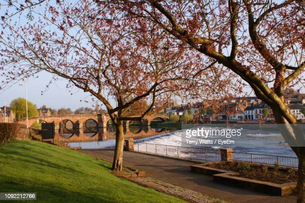 arch bridge over river against sky - dumfries stock pictures, royalty-free photos & images