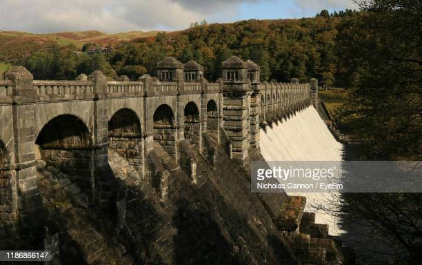 arch bridge over river against sky - lake vyrnwy stock pictures, royalty-free photos & images