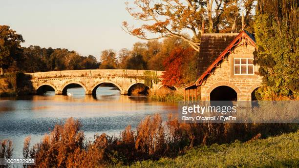 arch bridge over river amidst trees and buildings against sky - kildare stock photos and pictures