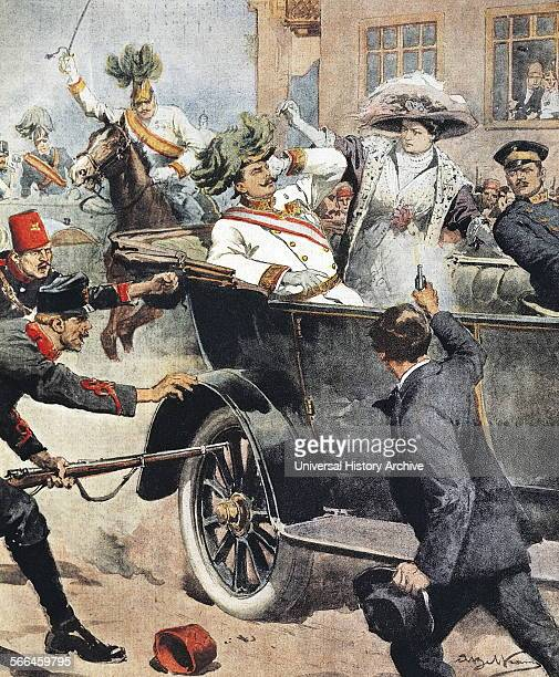 Arch Duke Franz Ferdinand and his wife on their journey into Sarajevo where they were assassinated 28th June 1914