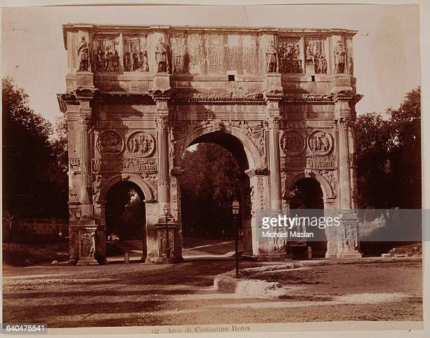 Arch of Constantine a triumphal arch in Rome Italy commemorating Constantine's victory over Maxentius at Saxa Ruba Photographed ca 1890 It is a...