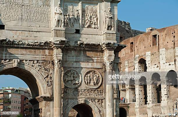 Arch of Constantine, and the Colosseum, Rome