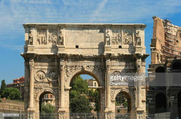 Arch of Constantine, Colosseum and Blue Sky, Rome, Italy.