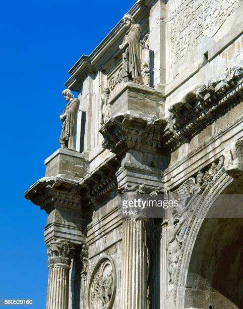 Arch of Constantine Detail of the reliefs It was erected in 315 AC by the Roman Senate to commemorate Constantine I's victory over Maxencius at the...