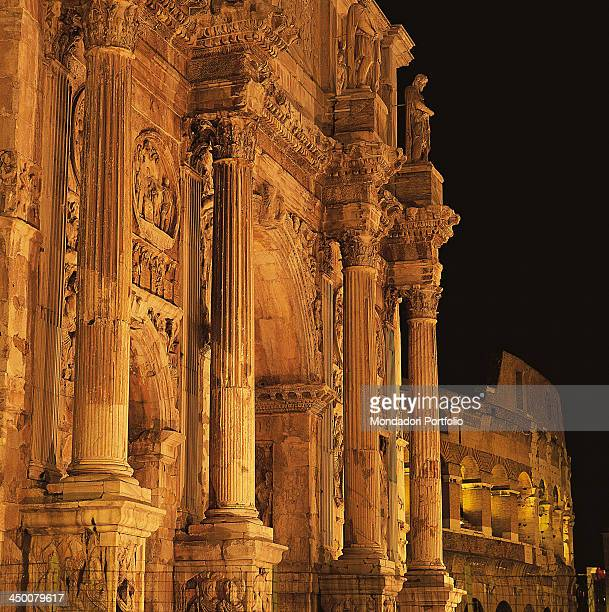 Arch of Constantine in Rome by Roman Architecture 4th Century AD marble and cement brickwork 25 x 650 x 1145 m