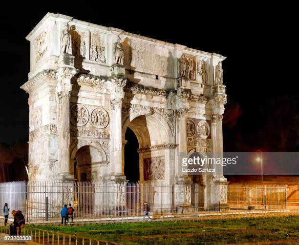 Arch of Constantine is seen at the Colosseum on October 30 2017 in Rome Italy Rome is one of the most popular tourist destinations in the World