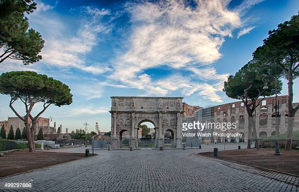 arch of constantine - coliseum rome stock photos and pictures