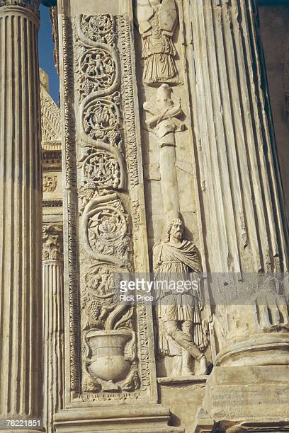 arch of emperor septimus severus, 203 ad, leptis magna, libya - arch of septimus severus stock pictures, royalty-free photos & images