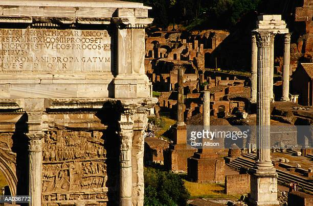 arch of septimus severus, roman forum - arch of septimus severus stock pictures, royalty-free photos & images