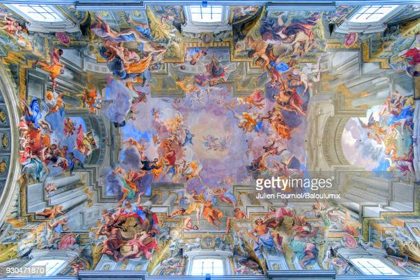 arch of the chiesa sant ignazio di loyola of rome. - baroque stock pictures, royalty-free photos & images