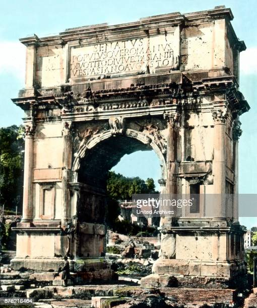 Arch of Titus at the entrance to the Forum Romanum Italy 1920s