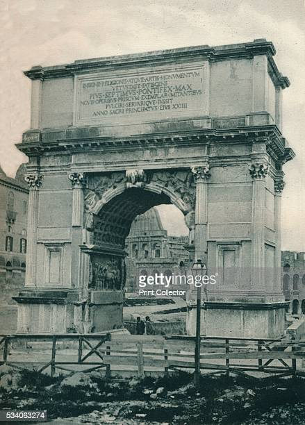 Arch of Titus Rome Italy' from 'Italien in Bildern' by Eugen Poppel 1927 The Arch of Titus was built in 82 by the Roman Emperor Domitian to...