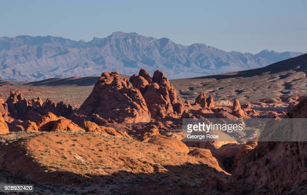 Arch rock formations at the Valley of Fire, Nevada's first and oldest State Park, are viewed on February 28, 2018 near Las Vegas, Nevada. The Valley...