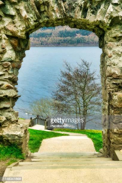 arch to loch ness, scottish highlands near drumnadrochit, uk - drumnadrochit stock pictures, royalty-free photos & images