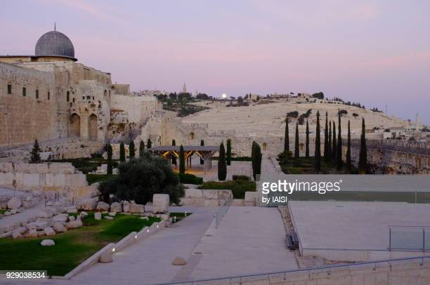 archaelogical dig near the western wall in the old city of jerusalem, a purple sky and a full moon on the mount of olives - mount of olives stock photos and pictures