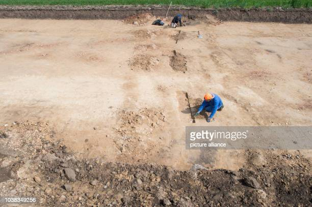 Archaeological dig assistants at work near the site of stone graves in Coermigk Germany 3 May 2017 A number of graves around 4500 years old were...
