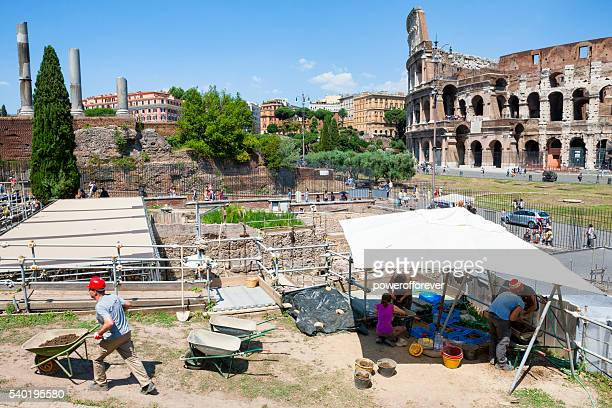 Archaeological dig at the Roman Forum in Rome, Italy