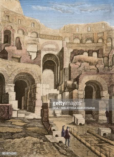 Archaeological excavations in the Coliseum Rome Italy engraving from L'Illustrazione Italiana Year 3 No 21 March 19 1876 Digitally colorized image