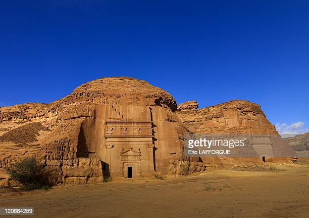 Archaeological site in Madain Saleh, Saudi Arabia on January 18, 2010 - Madain Saleh in Saudi Arabia, a sister city to Jordan's Petra. UNESCO world...