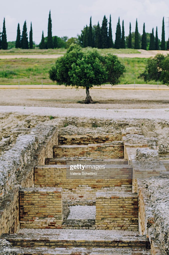 Archaeological site of Italica  Italica, Santiponce, Andalusia, Spain, Roman civilization, 2nd century : Stock Photo