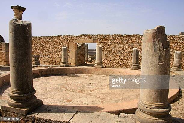 Archaeological site of Volubilis, in the area of Meknes in Morocco. Antique Roman town situated on the edge of the Oued Khoumane river and listed...