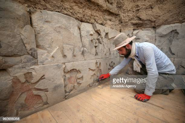 Archaeological works continue in the Ayanis neighborhood of the eastern province of Van Turkey on July 06 2018 Ayanis Castle was constructed on a...