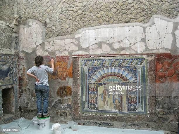 Archaeologist  Restoring Mosaic of Ercolano, Naples.