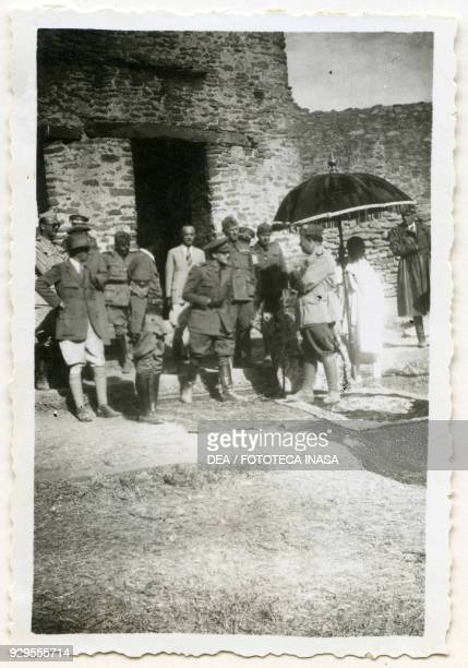 Archaeologist Ugo Monneret de Villard with officers and soldiers of the Italian Royal Army during an official ceremony Axum Ethiopia 19351936
