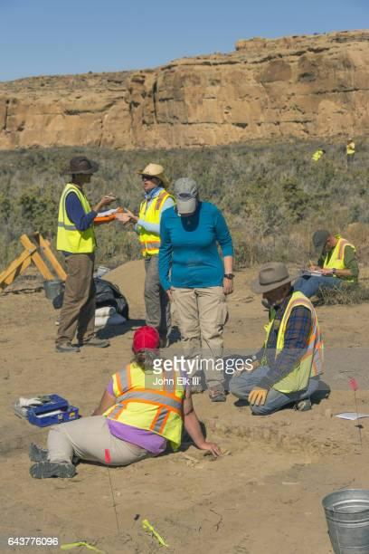 Archaeologists doing fieldwork