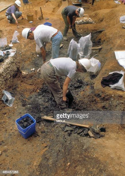 Archaeologists excavating external dumping in the lowlying part of the open area to the east of London's Roman amphitheatre formerly occupied by a...