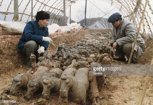 Archaeologists excavating terracotta warriors and horses at the tomb of the first emperor of China Qin Shi Huang Ti at the No 1 pit in Xuzhou Jiangsu...