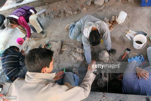 Archaeologists of the National Institute of History and Anthropology work with a human skeleton in Cholula Puebla state Mexico on February 19 2013...