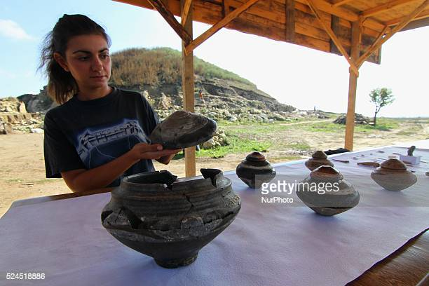 Archaeologists shows different artifacts and explore prehistoric settlement near the town of Provadia, Varna region, some 450 km from the capital...