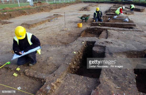 Archaeologists work on a building site where excavation works for a new housing development have unearthed elements of a walled structure over 350m...