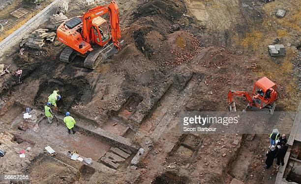 Archaeologists work on the remains of Henry VII's Royal Chapel at the Old Royal Naval College on January 24 2006 in Greenwich England The remains of...