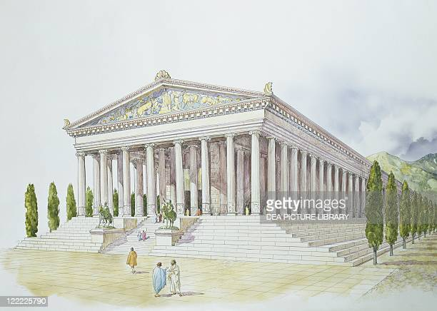 Archaeology Asia Minor Ephesus Reconstructed Temple of Artemis 'Artemiseum' Colour illustration