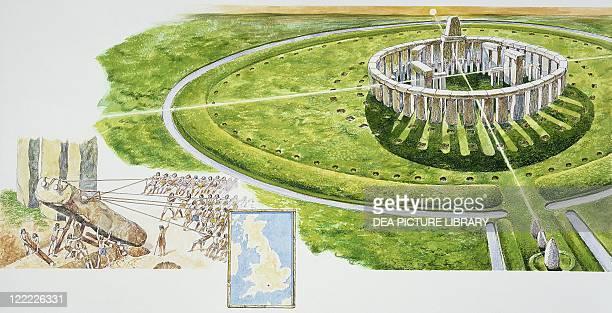Archaeology England Reconstructed megalithic Stonehenge Illustrated erection Colour illustration
