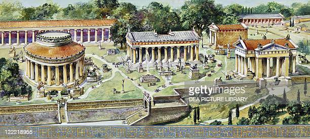 Archaeology Greece Epidaurus Reconstructed Sanctuary and Temple of Asclepius Colour illustration