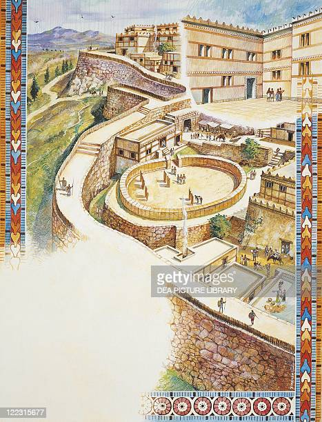 Archaeology Greece Mycenae Acropolis and circle of royal tombs Colour illustration