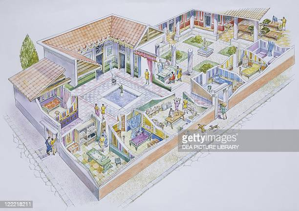 Archaeology Italy Pompeii Reconstructed private residential 'domus' Colour illustration