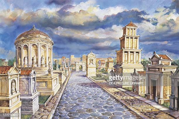 Archaeology Italy Rome Reconstructed Appian Way Colour illustration
