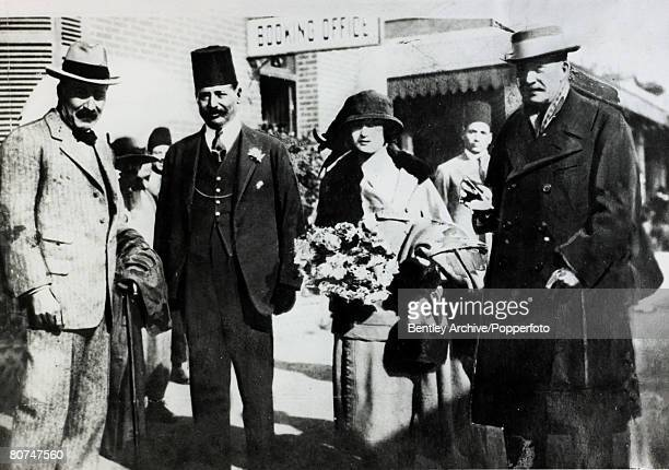 circa 1922 An interesting group pictured at Luxor leftright Mr Howard Carter HEMudir Jehir Bey Lady Evelyn Herbert and Lord Carnarvon shortly before...