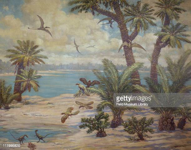 Archaeopteryx Compsognathus and Rhamphorhynchus birds in Germany Mesozoic Lower Jurassic mid to late 20th century Painting by Charles R Knight