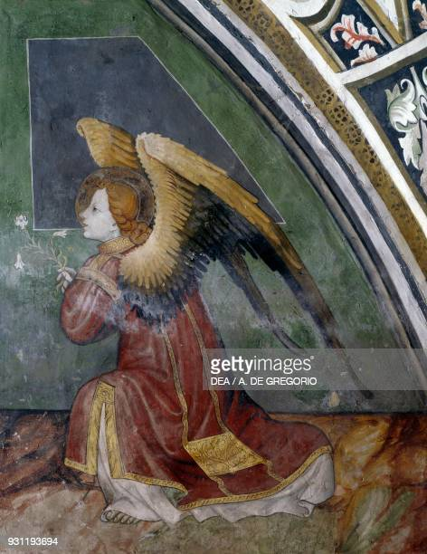 Archangel Gabriel detail from the Annunciation fresco by Giacomo Jaquerio Abbey of St Anthony of Ranverso Buttigliera Alta Piedmont Italy 15th century