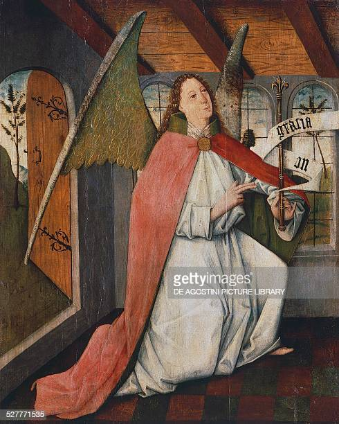 Archangel Gabriel detail from the Annunciation painting by Hungarian unknown artist Hungary 15th century Budapest Magyar Nemzeti Muzeum
