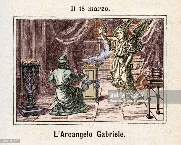 Archangel Gabriel divine messenger commemoration on 18 March Colored engraving from Diodore Rahoult Italy 1886