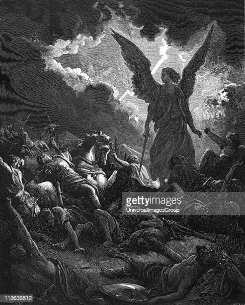 Archangel Gabriel instrument of God smote in the camp of the Assyrians So Sennacherib king of Assyria departed II Kings 19 From Gustave Dore Bible...